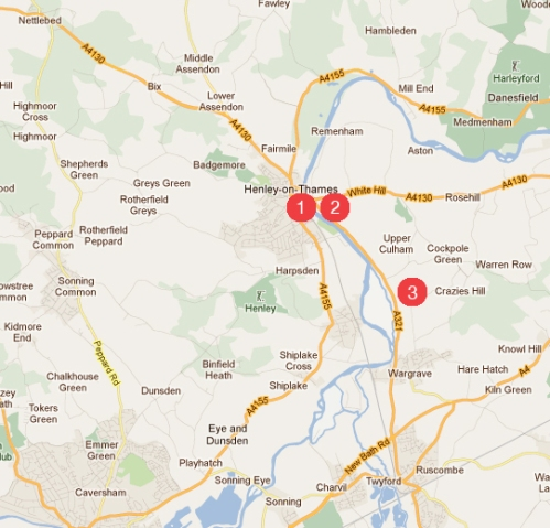 The Henley Bridge School map of venues 2013